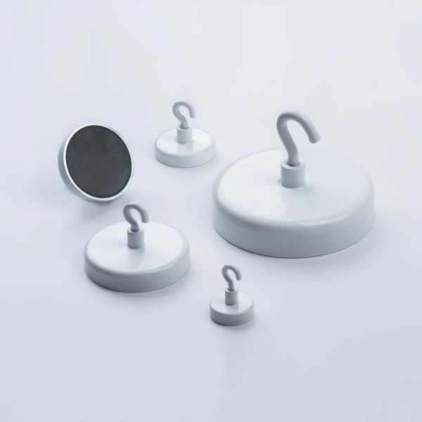 Dekorationsmagnet Ferrit mit Haken, weiß lackiert