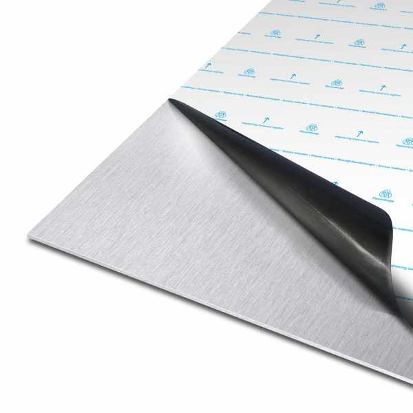 Blech aus Edelstahl |  1.4301 | einseitig K240 geschliffene Laserfolie mit Schutzfolie